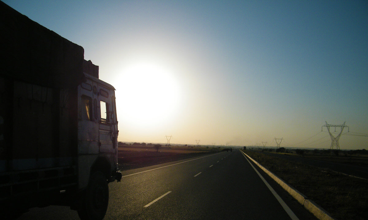 view of hgv on road driving image