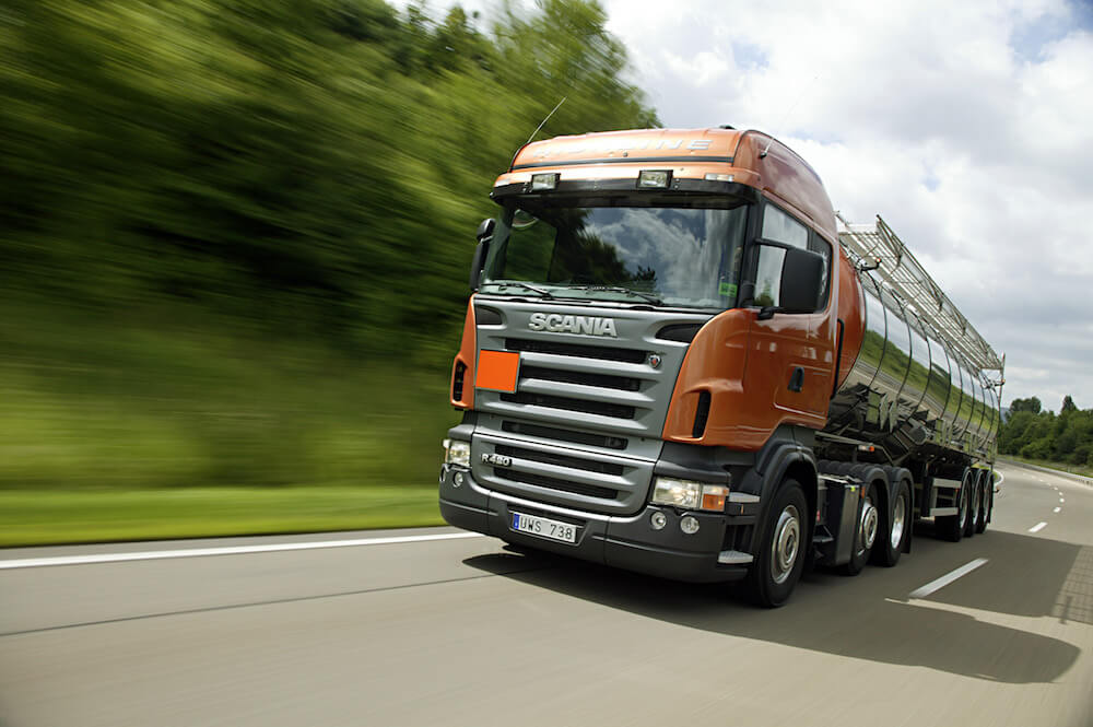 image of hgv driving very fast