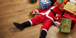 picture of father christmas and presents