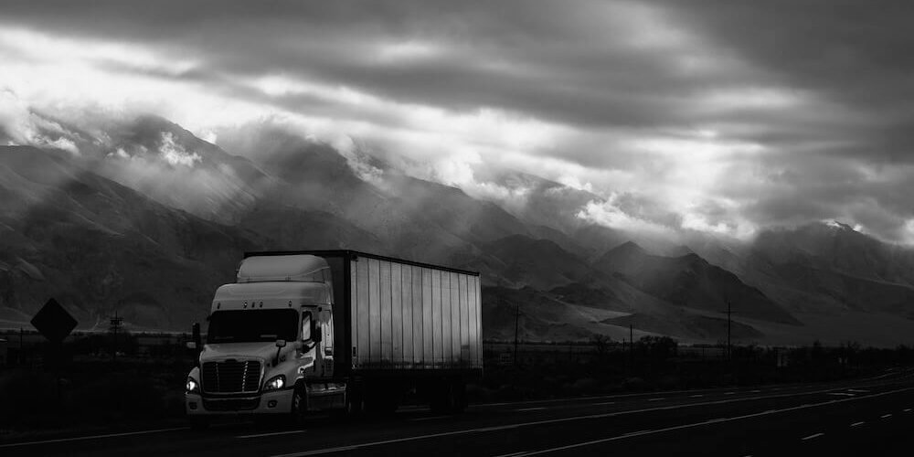 image of landscape with hgv in black and white