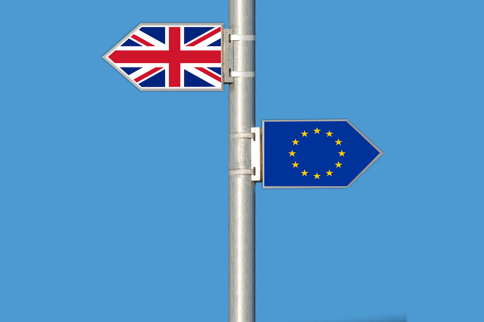 uk and european flag signs