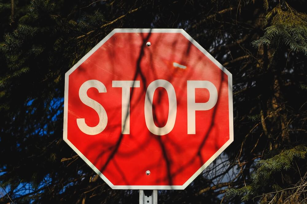 stop sign in bright red