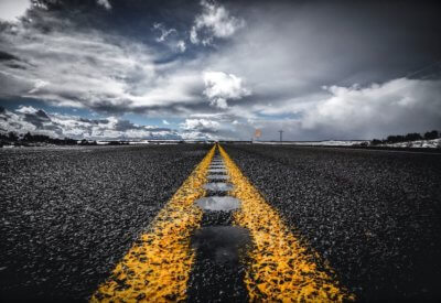 photography of road with line