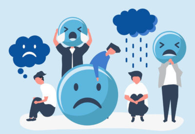 graphic illustration of sad people