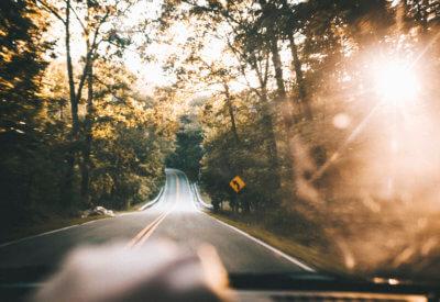 sunny landscape road image