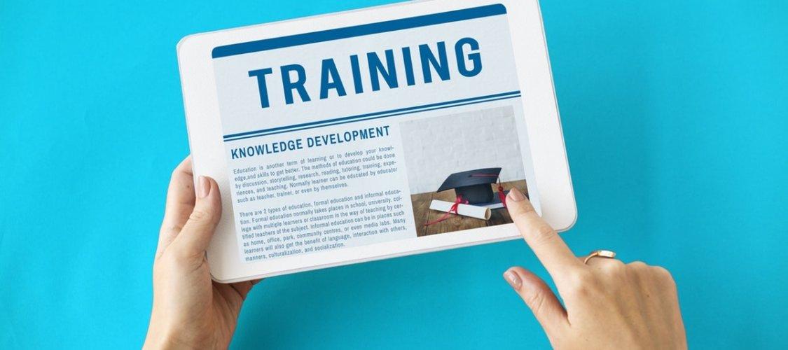 training page on ipad screen