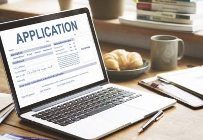 application on laptop
