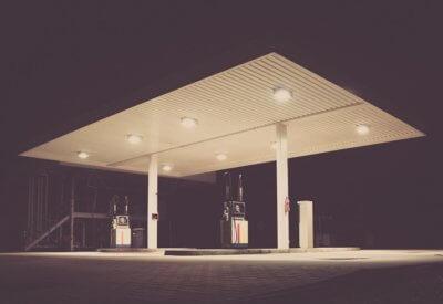 image of petrol station at night