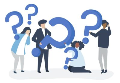 graphic illustration of questioning people